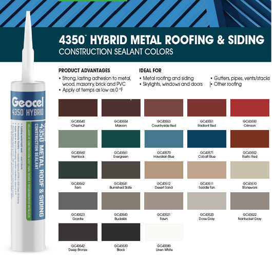 geocel hybrid sealant, metal roofing sealant, color sealant
